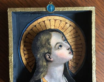 Canticle of Mary Modern Folk Art Shadow Box