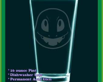 Charmander etched drinking glass, water tumbler, pokemon fanart cup