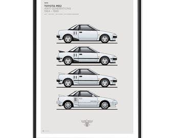 Toyota MR2 AW11 Generations Poster SUPER WHITE