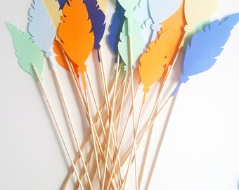 10 decoration - bouquet of feathers-feather-multicolored-party Indian - guestbook - for message