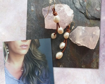 Leather and Pearl Earrings / Hand-Knotted Leather and Pearl Earrings / Freshwater Pearl Earrings