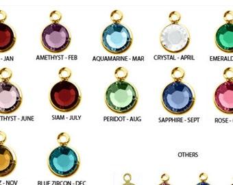 Add on-Swarovski Gold Plated Birthstone Crystal, Gold Channel, 6mm