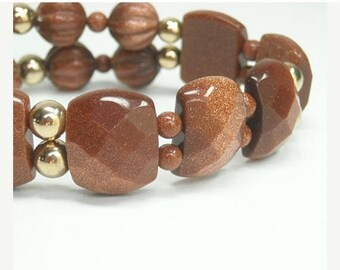 Sale  Chunky Goldstone Bracelet, Rusty Brown, Coppery Gold Sparkles, Stretch, Gold Filled, Gemstone, Cuff, Beaded