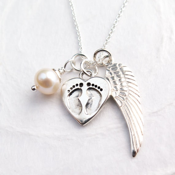 Baby footprint necklace personalized with initial aloadofball Choice Image