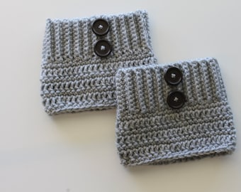 Crochet Boot Cuffs Adult Women Grey with Two Buttons Made to Order
