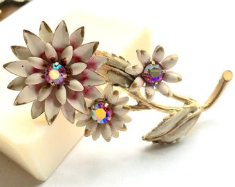 Vintage Brooch large Purple Rhinestone and Enamel Cluster Flower Daisy Pin Brooch Jewelry