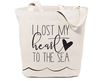 I Lost My Heart to the Sea Cotton Canvas Beach, Shopping and Travel Reusable Shoulder Tote and Handbag, Gifts for Her, Farmers Market, Ocean