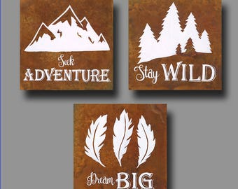 ORIGINAL Paintings -- Outdoor Nature Theme Inspiration Quotes -- Woodland Theme -- Individual or as a Set