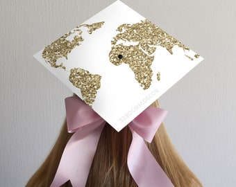 Graduation Cap Decal | DOWNLOAD ONLY | Gold Globe | No Quote | Design Only | Graduation Cap | Grad Cap