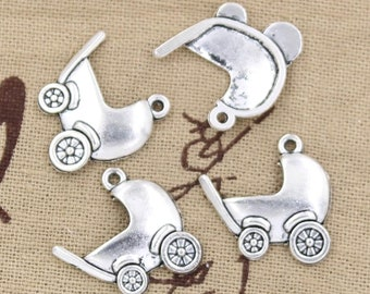 8 Baby Carriage Charm Pendant 21mm x 20mm Stroller - Antique Silver Tone - Jewelry Making