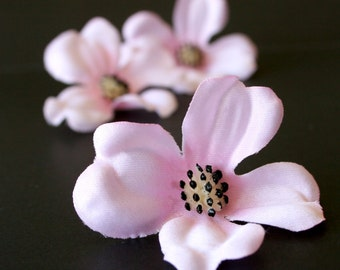 Pink dogwood flowers etsy 3 small dogwood blossoms in blush pink artificial flowers silk flowers mightylinksfo