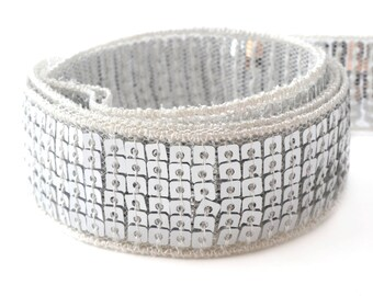 6 rows of sequins 25 mm silver glittery Ribbon