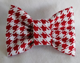 Hounds Tooth- Dog Collar Bow Tie- Pet Accessory- Pet Supplies-Red and White-Houndstooth- Collar Attachment