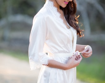 Satin and Lace Robe - Light Ivory silky satin, off white alencon lace trim.