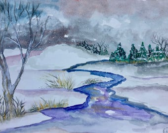 "Set of 8 Original Watercolor Notecards by Silvashire Art- Winter Solstice Collection (7"" W x 5"" H)"