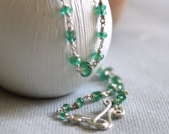 Genuine Emerald Necklace - Sterling Silver- Beaded Necklace - Delicate Chain Necklace  - May Birthstone- Statement Necklace-