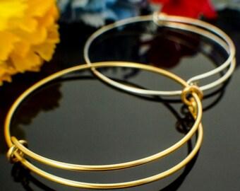 1 Handmade Bangle Base - Snag-less Premium Silver Plate, Gold Color, Non Tarnish Copper - Also Solid Metals and Precious Metals