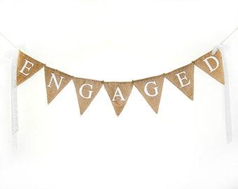 Engaged Banner, Engagement Party Decor, Burlap Banner