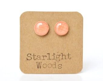 Coral stud earrings coral earrings wife gift post earrings starlight woods