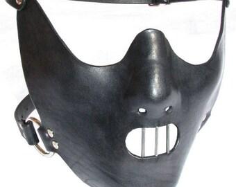 Head Mask leather mask face mask Hannibal Lecter Leather mask Hood