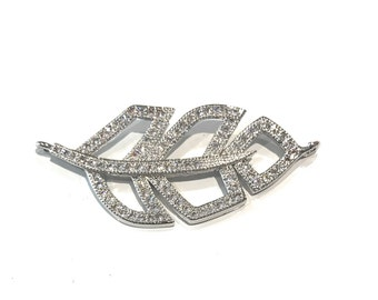Leaf Connector, Jewelry Connector, DIY Jewelry, Jewelry Making, Jewelry Supplies, Pave Connector,  Silver Connector, Bracelet Connector