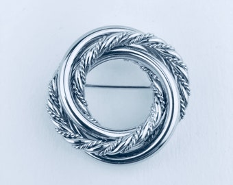 Vintage Napier Silver Tone Brooch Textured Rings Circle Wreath Pin - Vintage Mid Century Designer Costume Jewelry on Original Card