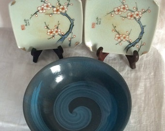 Special  Selection of 3 Japanese Vintage  Square Japanese Porcelain Hand Painted Plates and Bowl