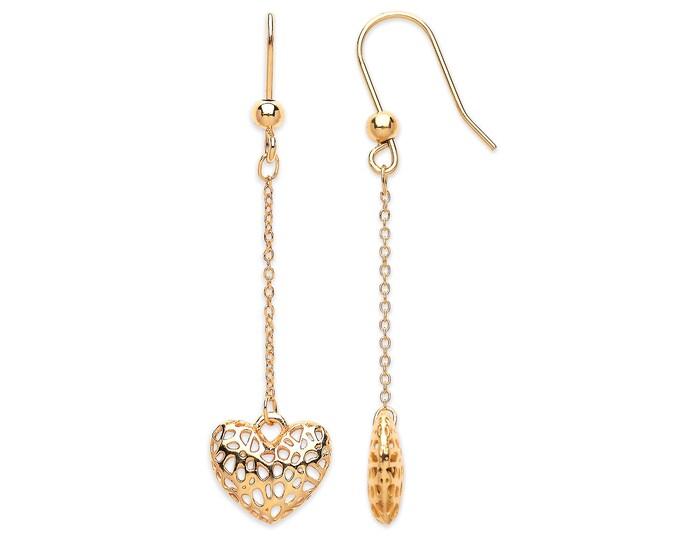 9ct Yellow Gold Filigree Heart Fish Hook 4cm Drop Earrings