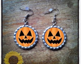 Halloween Pumpkin bottle cap earrings