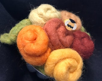 Pincushion--Fall color roses made from wool roving--quilter gift in a Vintage Jello mold tin