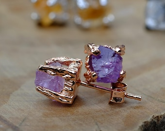 stone gemstone point sterling silver amethyst mini beaded earrings