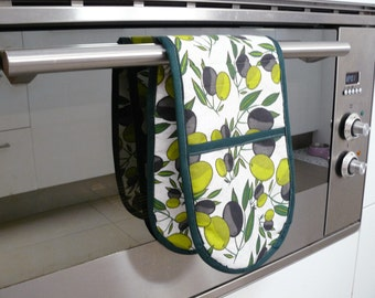Double Oven Mitt - green and black olives