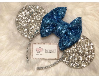 Silver and Blue Mouse Ears