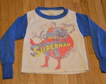 70s Superman Pajama Top Youth Small (6-8) Long Sleeve Top Man of Steel Clark Kent
