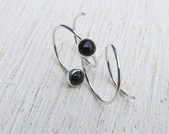 Earrings for Two Holes / Argentium Silver Hoops / Double Piercing Earrings / Birthstone Jewelry / Double Lobe Piercing / Gemstone Earrings