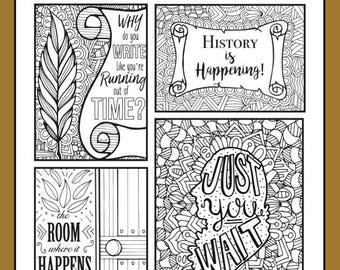 hamilton collection broadway coloring card musical theater hand drawn note card coloring card coloring pages wall art theatre nerd