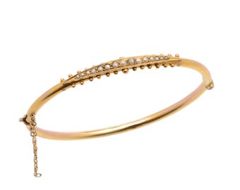 Victorian 9 KT. Yellow Gold and Seed Pearl Bangle Bracelet