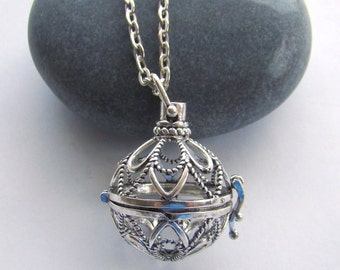 Filigree Sphere Essential Oil Diffuser Necklace, Aromatherapy Necklace