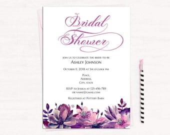 Bridal Shower Invitation Gold Template Black And Purple Bridal - Purple bridal shower invitations templates