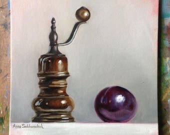 Pepper mill and plum  Original oil painting Gift Home decor still life oil painting Wall Art oil painting purple gray brawn Oil Fine ART