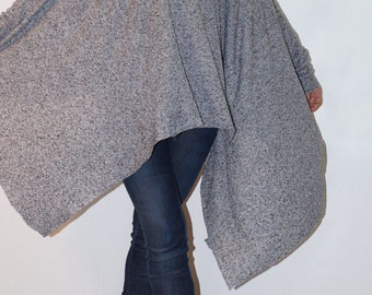 Loose Long  Blouse/Knit Oversized Top/Extravagant Tunic/Extra Long Sleeves/Summer Sweater/Asymmetrical Blouse/F1282