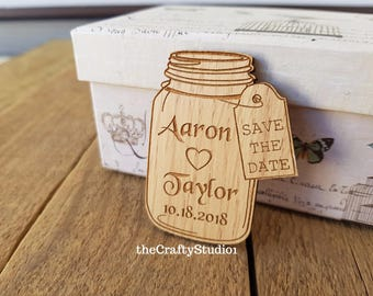 Free shipping! Eco Wedding magnet save the date, wood magnet save the date by Oxee, mason jar