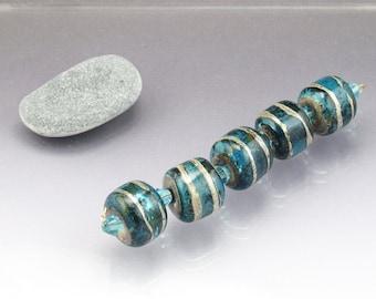 Large Lampwork bead set Focal barrel beads aqua blue lampwork Large glass bead Focal glass bead Glass focal bead Lampwork focal Sea Rocks