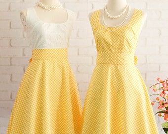Short bridesmaid dress Yellow Dress Yellow Plaid Dress Yellow Party Dress Yellow Sundress Yellow Bridesmaid Dresses Yellow Vintage Dress