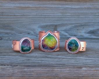Rainbow Gemstone Cuff Bracelet, Rainbow, Rainbow Gemstone, Copper Cuff