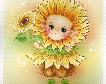Cross stitch Chart Pattern Flower Sprites - Sunflower Sprite - Mitzi Sato-Wiuff