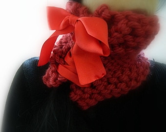 Super Chunky knitted scarf Handmade Scarf Lace-up scarf Red Chuky Cowl Red Knit scarf Unique Womans Gift for her Handknitted scarf