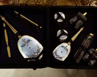 Deco Enameled 9-piece Vanity Set in Leather Case