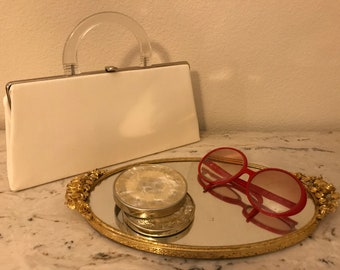Vintage Dover Leather Clutch Purse with Lucite Handle Hand Bag ~1950's~Great Condition~Glam Couture~FREE SHIPPING~L@@K