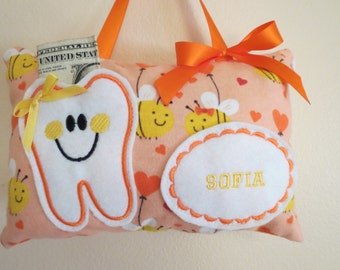 Bee Tooth Fairy Pillow - Personalized - Embroidered Tooth Fairy Pillow